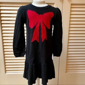Baby Gap Toddler 2 Yr Black Red Bow Sweater Dress